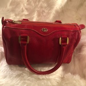 GUCCI Vintage Red Leather Boston Satchel